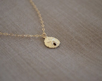 Gold Sand Dollar Necklace, Gold Filled Chain