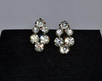 GORGEOUS pair of white rhinestone clip earrings, for bride/bridesmaid/bridal/wedding; made in Austria