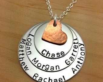 Children's Names Necklace, Grandma Necklace, Mom Necklace, Grand Children's Names Necklace, Seven Names Necklace
