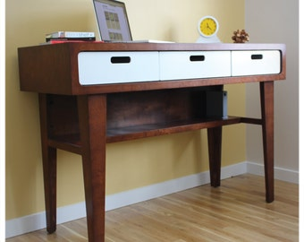 Modern Standing Desk - Office Desk in Caramel Stain with White Drawers