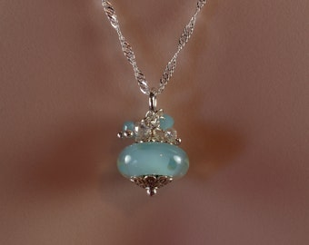 Light Blue Necklace, Bauble Necklace, Polka Dot Necklace, Ice Blue Crystal Necklace, Sky Blue Bridesmaid, Lampwork Glass, Cinderella, N1113
