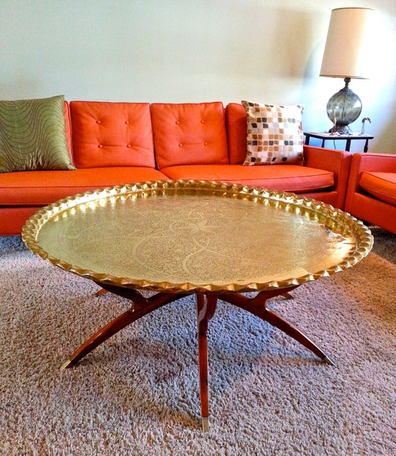 Mid-Century India Brass Tray Table W/Walnut Folding Base