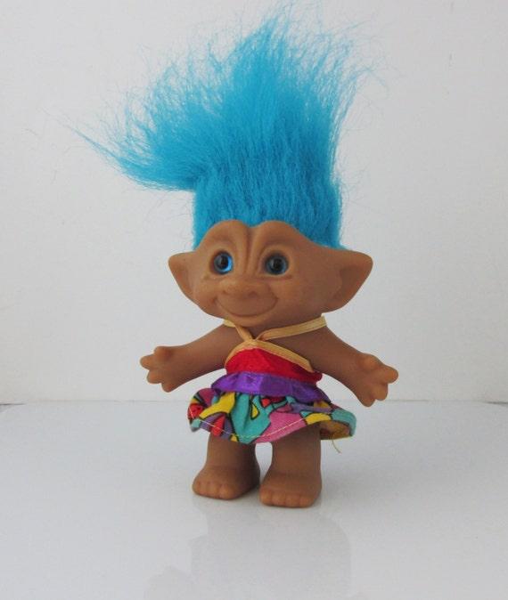 Troll puppe spielzeug blaues juwel bauch ace neuheit der er