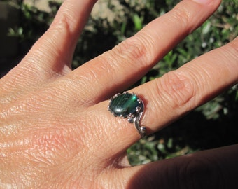 Green Abalone Sterling Ring Size 7.25