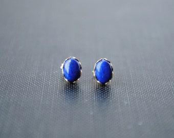 Lapis Stud Earrings, Lapis Lazuli Stud Earrings, Gold Lapis Earrings, Stud Earrings