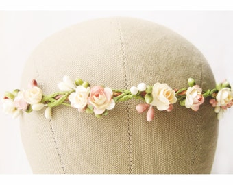 Wedding hair accessories, Peach flower crown, Bridal headpiece, Floral headband, Wreath, Pastel - SHERBERT