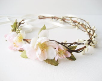 Cherry blossom flower crown, Rustic wedding hair accessories, Bridal headpiece, Floral headband, Pink, Wreath - SPRINGTIME