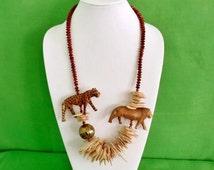 Vintage Hand Carved Animal Necklace (Item 1674)