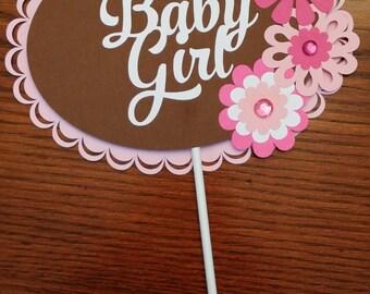 BABY GIRL Centerpiece Sticks - Baby Shower Decoration Sticks Set of 3