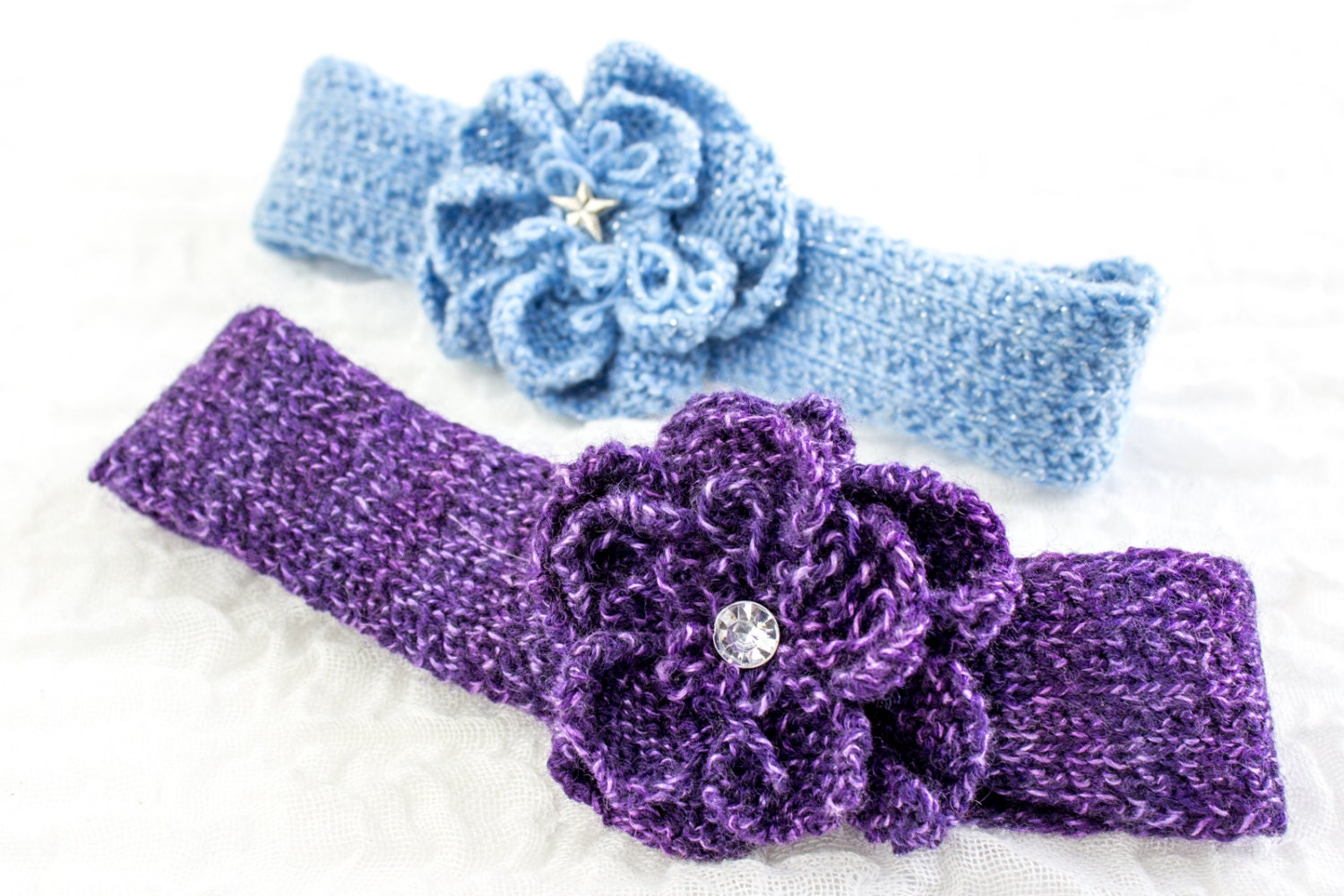 Knitted Headband Patterns With Flower : KNITTING PATTERN Baby Headband Knit Flower Headband Knit