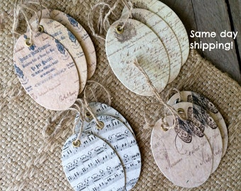 Small Paper Tags in Vintage Prints - Set of 12