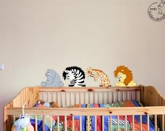 "Wall decal ""Madagascar"" Lion zebra hippo giraffe"