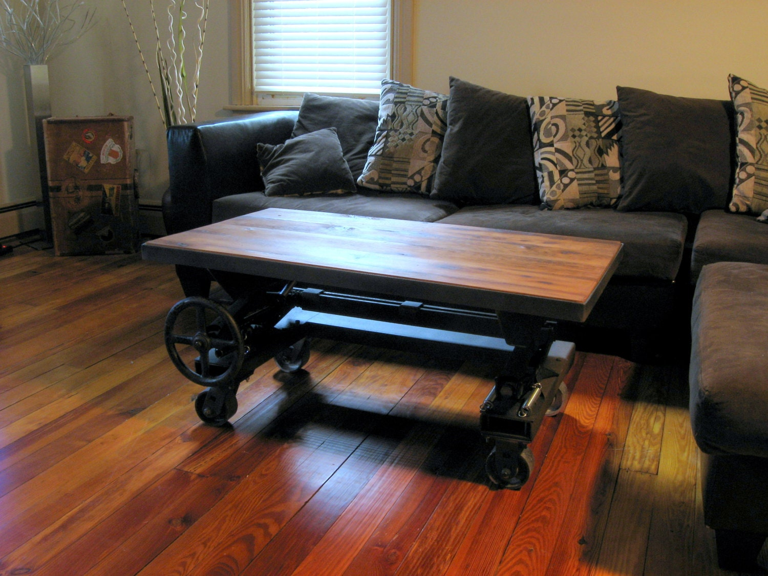 Free shipping adjustable height industrial by flintalleyfurniture - Coffee table converts to desk ...