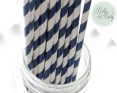NAVY BLUE STRIPED paper straws, 25 paper drinking straws, birthday, party, holiday, baby shower, bridal shower
