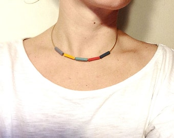 Minimal Necklace // Essence // Minimal Jewelry // Mint Yellow Grey Blue // Modern Necklace // Choker // Wood Necklace
