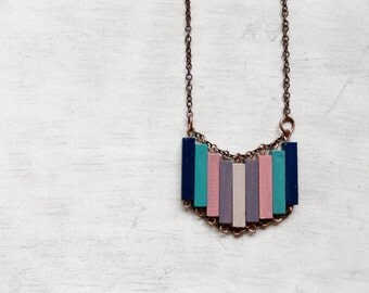 Wood Geometric Necklace // SUNSET OVER The SEA // Minimal Jewelry // Pink // Mint // Turquoise // Lavander // Hand-Painted Necklace / Modern