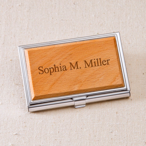 Engraved wood business card case personalized business card for Wooden business card case