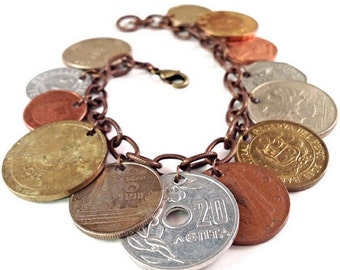Foreign Coin Bracelet - Natural Brass, Authentic World Coins - Coin Charm Bracelet - Travel, Wanderlust, Explore, Adventure, Gift for Her