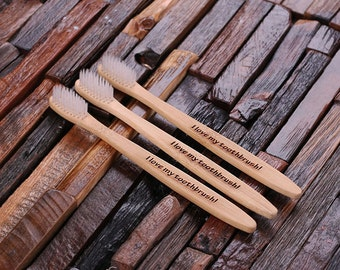 Set of 3 Engraved Monogrammed Wood Personalized Toothbrush Customized Gift (024397)
