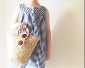 Baby girl dress / Blue cotton gingham pinafore kids / spring Summer wear toddler / size 3 - 4 T