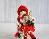 vintage Christmas decoration // Christmas doll ornament // felt & wood girl or boy // trumpet // musical instrument - umbrellafant
