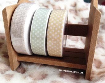 Natural Linen Polka Dot: Fabric Adhesive Tape