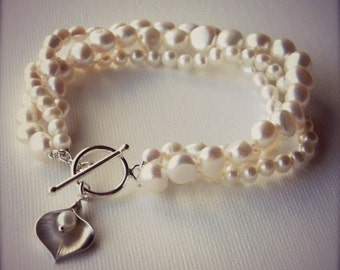 Pearl Calla Lilly Bracelet