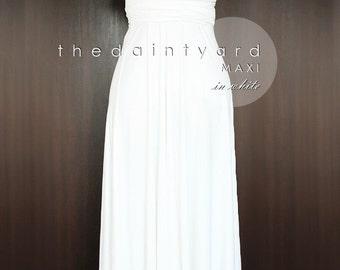 MAXI White Bridesmaid Dress Convertible Dress Infinity Dress Multiway Dress Wrap Dress Wedding Dress Full Length Off White Dress Twist Dress