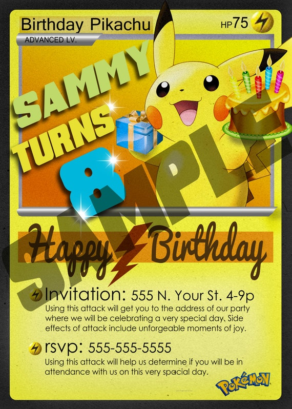Each Invite Measures Approximately 275 X 85 Once It Is Trimmed Pokemon Birthday Pikachu Digital Card Invitation