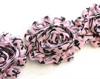 Shabby Rose Flower Trim--Light Pink Damask with Glitter