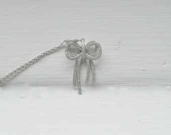 Cubic Zirconia Bow Necklace - Crystal Bow Necklace - Sterling Silver Necklace - Bridesmaid Gift - Bow Tie Necklace