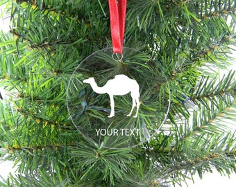 Personalized Custom Camel Clear Acrylic Christmas Tree Ornament with Ribbon