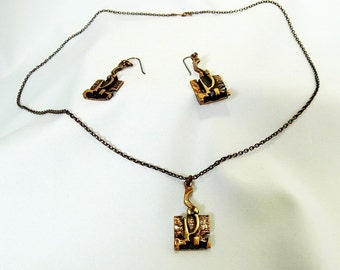 Modernist Jorma Laine Finland Turun Hopea vintage bronze necklace set (earrings, pendant and chain).