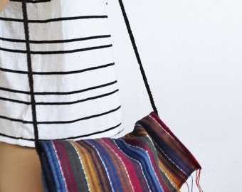 Striped Cotton Purse,bag, Fringed ,Shoulder Bag,red,blue,gold,boho purse