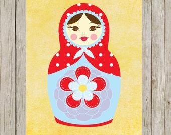 8x10 Russian Matryoshka Printable, Russian Nesting Dolls Printable Art, Babushka Print, Home Decor, Russian Poster, Instant Download