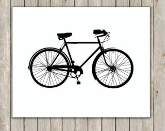 8x10 Bicycle Art Print, Poster Printable, Bike Print, White and Black Art, Nursery Art, Home Decor, Bike Poster, Instant Digital Download