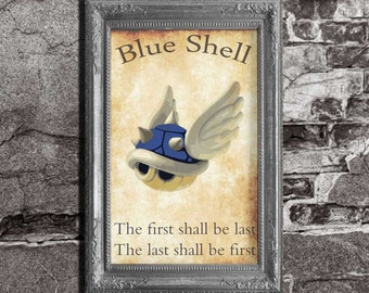 Blue Shell - Mario Kart Inspired - Video Game Art Poster Super Mario Brothers Luigi Yoshi Donkey Kong