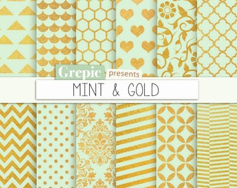 "SALE 50% Mint gold digital paper: ""MINT & GOLD"" gold mint backgrounds w/ chevron, polkadots, honeycomb, stripes, damask, floral, q"