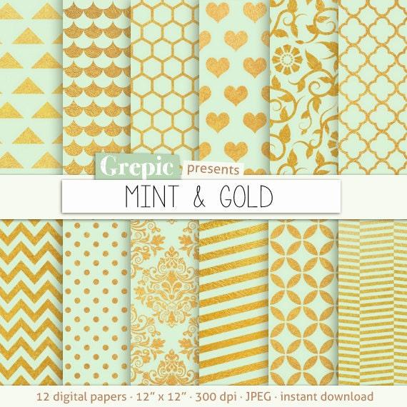 Green Gold Grepic Clip Art Illustrations Digital Paper Scrapbooking Supplies