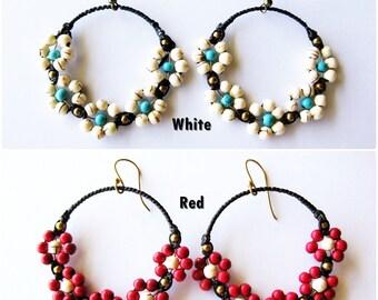 Little Flower Earrings dangle hoops, Beads Stone, Jewelry Thailand Handmade. (JE1022)