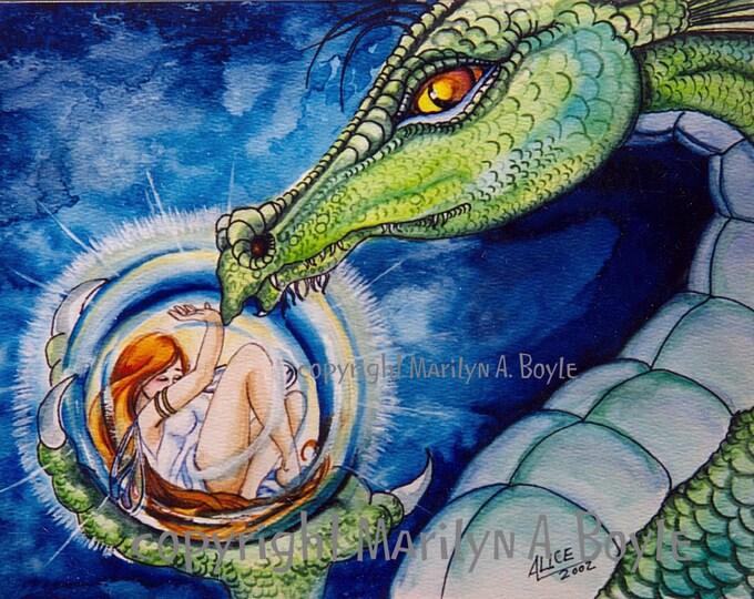 PRINT - DRAGON - FANTASY; fairy, green dragon, capture, fantasy art, wall art, from my original art, Father's Day gift,
