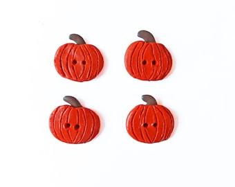 Pumpkin Buttons - Halloween Buttons - Polymer Clay Buttons - Autumn Buttons - Orange Buttons - Flat Back Buttons - Sewing Buttons