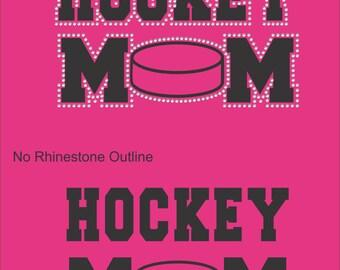 Hockey Mom T Shirt/ Hockey Mom Shirt/ Hockey Mom Clothing/ Hockey Mom Gift/ Vinyl Rhinestone Hockey Mom Short Sleeve T-Shirt Many Colors
