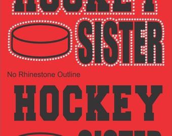 Hockey Sister Sweatshirt/ Hockey Sweatshirt/ Vinyl Rhinestone Hockey Sister Hoodie Sweatshirt/ Hockey Gifts