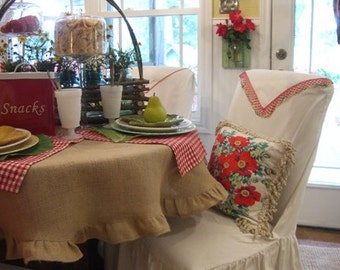 Burlap  round  table cloth 60'' with ruffles - Wedding tablecloth