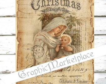 Madonna & Child Christmas Large Image Religious Instant Download Vintage Transfer Fabric digital collage sheet printable No. 005