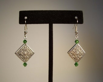 Celtic Earrings, Irish Earrings, Green Earrings, Diamond Shaped Earrings, Crystal Earrings, Silver Earrings, Square Earrings