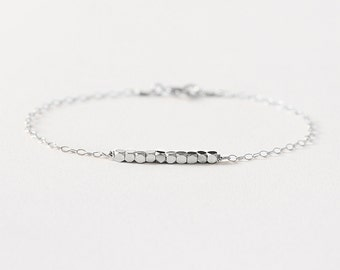 Anais - dainty silver bracelet - sterling silver bead bracelet - delicate silver bracelet - tiny beaded bracelet - gift for her