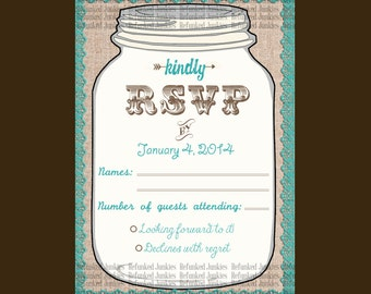 Template Mason Jar RSVP Card,teal,rustic wedding,burlap lace jar rsvp,personalized rsvp,custom color rsvp,country wedding,vintage wedding