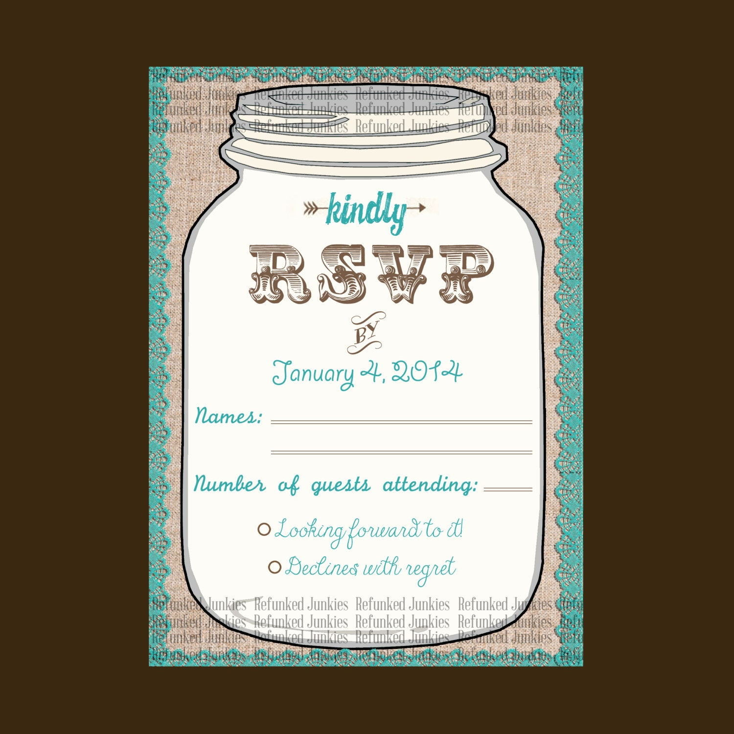 Template Mason Jar RSVP Cardtealrustic weddingburlap lace – Free Wedding Rsvp Card Templates